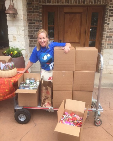 Dental team member collecting items for food drive