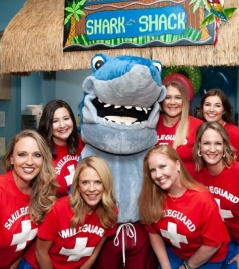 Dental team with shark mascot