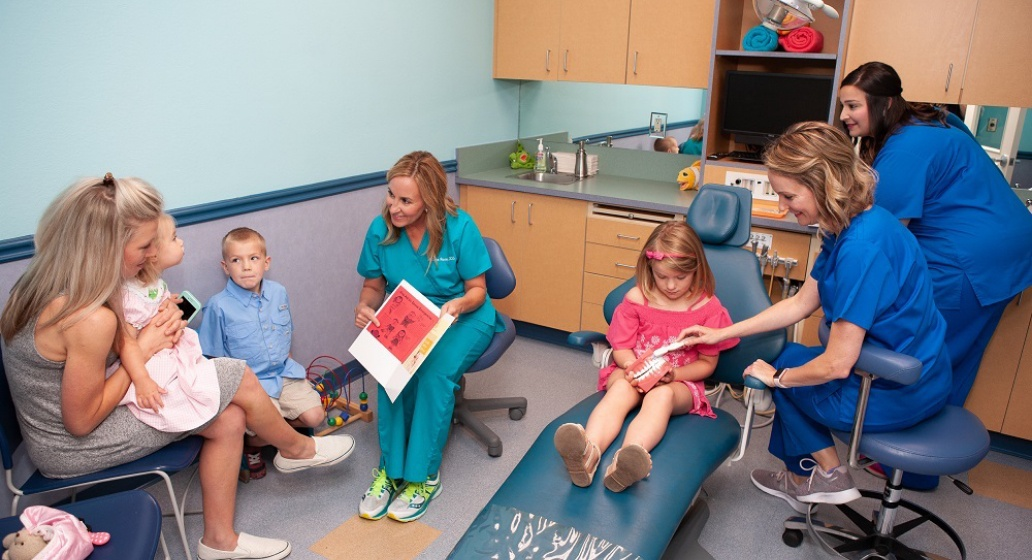 Dentist kids and parents in dental treatment room