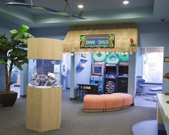 Welcoming and fun dental office waiting room