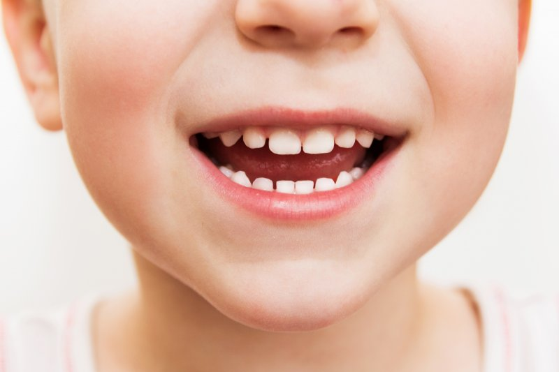 an up-close look at a child's baby teeth